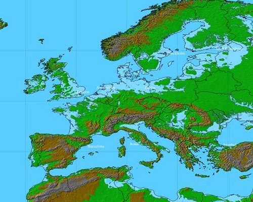 L'Europe : niveau des mers + 80 m ! © DR, reproduction et utilisation interdites