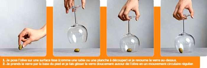 Avec un peu d'entraînement, vous maintiendrez sans peine l'olive au milieu du verre pour la montrer à vos convives. © Le Pommier