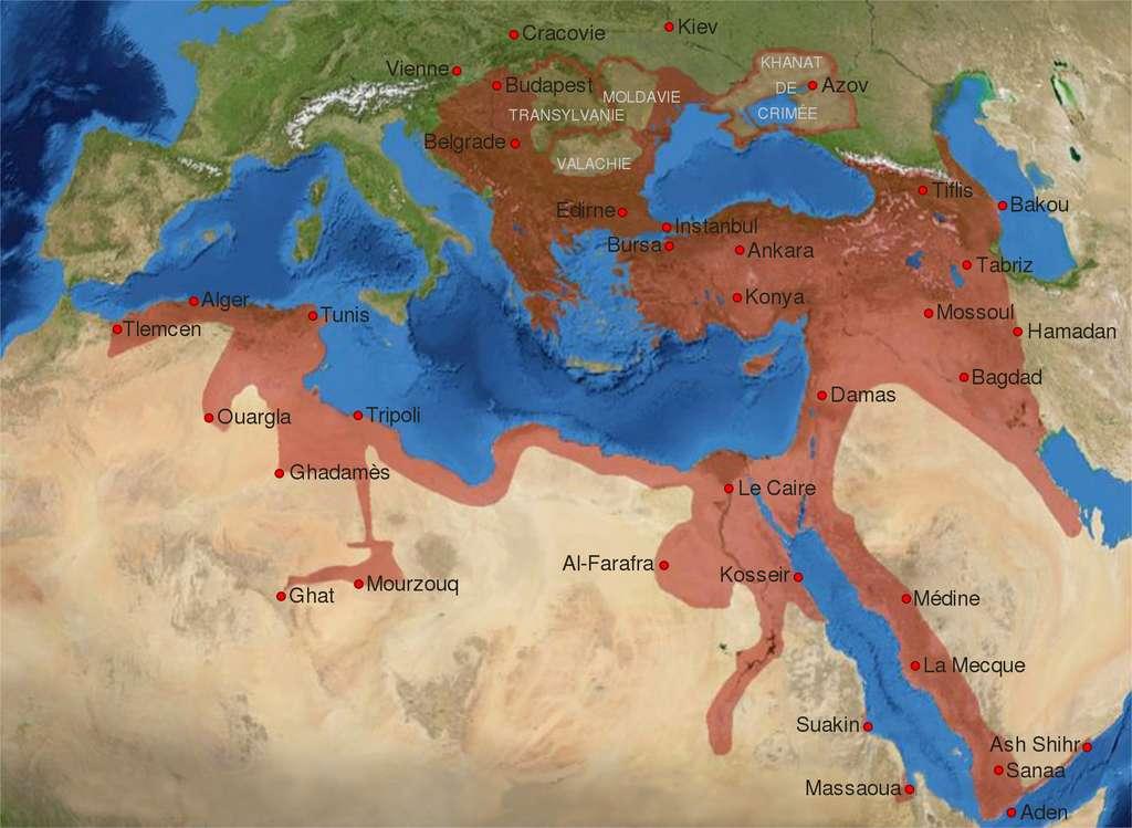 Carte de l'empire ottoman à son apogée fin XVIe siècle. © Wikimedia Commons, domaine public.