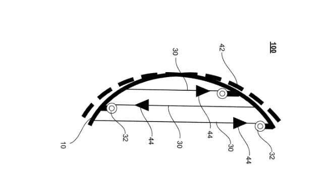 Voici un dessin schématisant le concept de carrosserie déformable breveté par Waymo. La zone pointillée représente la partie externe qui pourrait s'assouplir en cas de choc avec un piéton. © Waymo