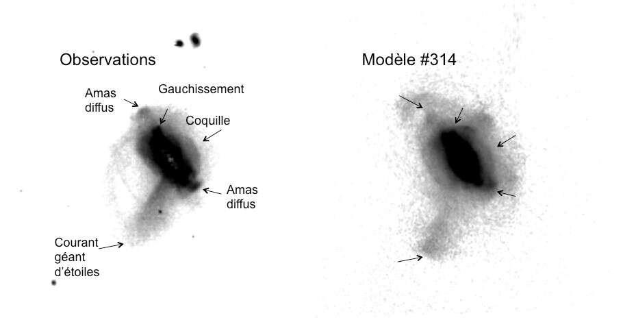 À gauche, vue détaillée des observations profondes ; à droite, la simulation opérée à l'aide de puissants calculateurs des parcs GENCI et MesoPL parvient à reproduire les observations et à en expliquer leurs origines. © Observatoire de Paris - PSL, Hammer et al. 2016