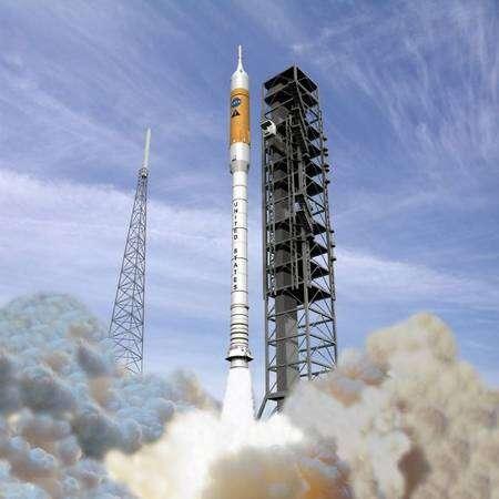 Lancement d'Ares-1 (vue d'artiste). Crédit Nasa