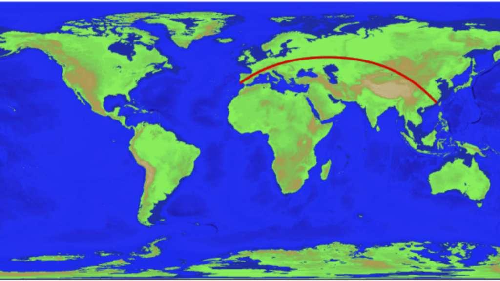 La plus longue distance possible en ligne droite sur terre. © Rohan Chabukswar, Kushal Mukherjee, Arvix