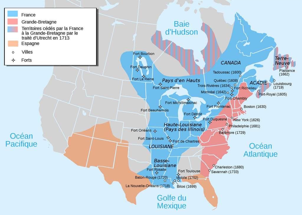 Carte représentant l'occupation française de la Nouvelle France (en bleu) aux XVIIe et XVIIIe siècles ; occupation anglaise en rose. © Wikimedia Commons, domaine public.