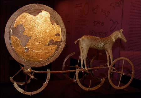 The Sun Carriage from the Bronze Age, at display at the National Museum (Nationalmuseet) in Denmark. © Malene Thyssen, Wikipedia, GNU Free Documentation License, Version 1.2