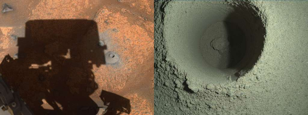 Deux photos du forage réalisé par Perseverance : celle de gauche est prise par une caméra de navigation, celle de droite par l'instrument Watson. © Nasa, JPL-Caltech