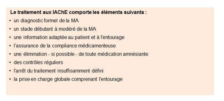 Ci-dessus, les différentes étapes d'un traitement de la maladie d'Alzheimer (MA) aux inhibiteurs de l'acétylcholinestérase (IAChE). © DR