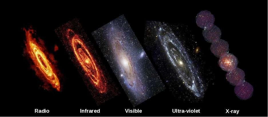 Cinq vues de la galaxie d'Andromède dans les domaines radio, infrarouge, optique, ultraviolet et X. Les longueurs d'onde X, absorbées par l'atmosphère terrestre, ne peuvent être étudiées que depuis l'espace. © Nasa