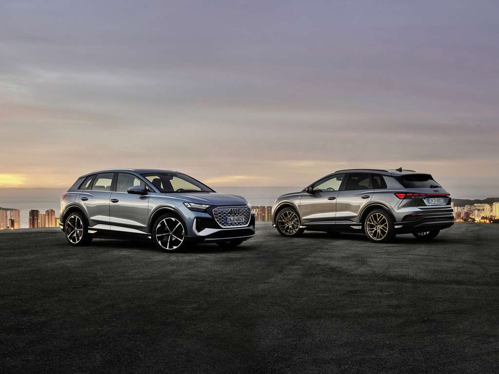 A gauche, l'Audi Q4 e-tron classique. A droite, la version Sportback. © Audi