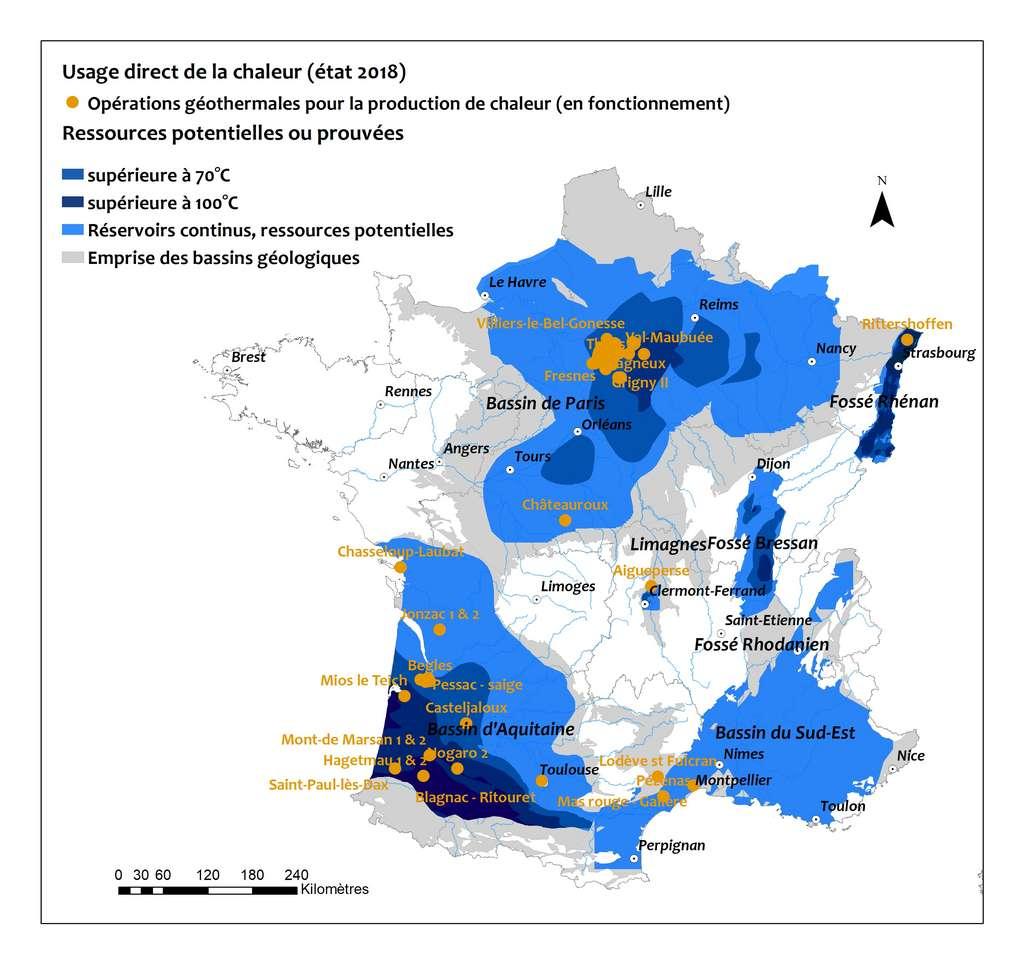 Ressources géothermiques en France métropolitaine. © BRGM