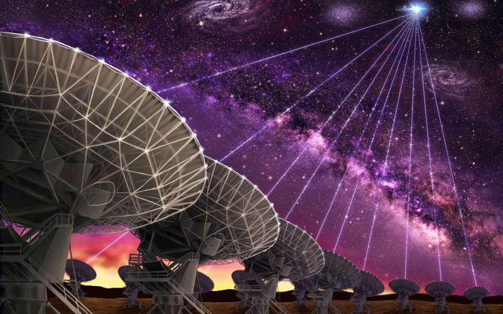 En faisant de la synthèse d'ouverture par interférométrie, il est possible de combiner plusieurs radiotélescopes comme si on en avait un géant de plusieurs dizaines de kilomètres, et même mille fois plus. Ce dessin d'artiste représente ainsi les antennes du VLA, dont les observations à hautes résolutions ont permis de préciser la localisation d'un sursaut radio rapide. © Danielle Futselaar