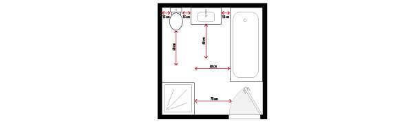 Pour faciliter la circulation dans une salle de bains, il est conseillé de respecter certaines distances. Lors de la prise de mesures (longueur, largeur et hauteur) de la pièce il est nécessaire d'indiquer l'emplacement des menuiseries (porte et fenêtre) ainsi que l'emplacement des arrivées et évacuation de l'eau. © Lapeyre