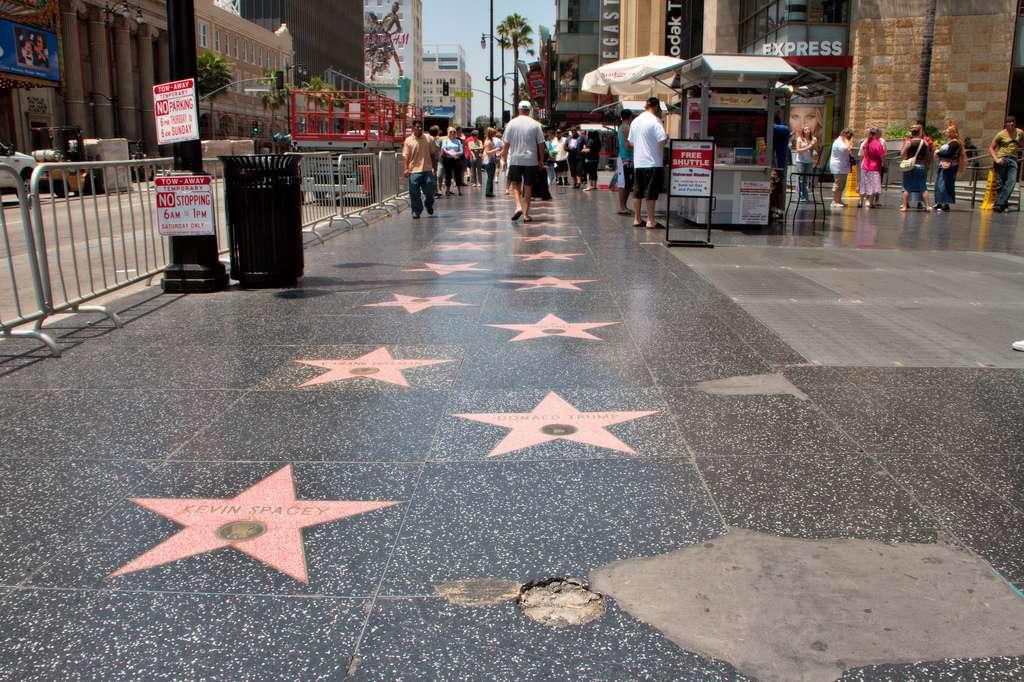 Les fameuses étoiles tant convoitées d'Hollywood… L'emblème placé sur chaque nom (caméra, poste de télévision, tourne-disque, microphone, masque) indique l'industrie concernée. © Christian Haugen, Flickr, CC by 2.0