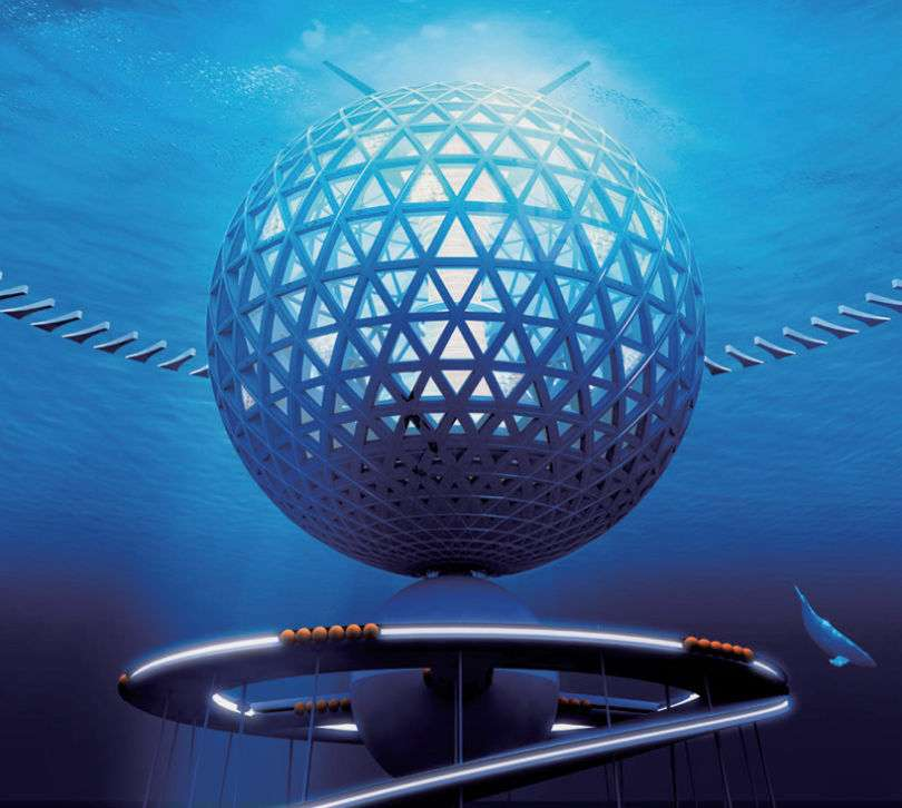 La sphère de 500 m de diamètre, constituée d'une trame de béton et de panneaux transparents, est le lieu de vie. Elle abrite des appartements, des hôtels, des bureaux et des laboratoires. Elle est reliée au fond par une rampe hélicoïdale et par des câbles. D'énormes ballasts permettent de la faire émerger davantage, pour la maintenance, ou de l'enfoncer complètement sous la surface lorsqu'un cyclone est prévu. © Shimizu
