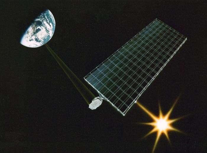 Une vue d'artiste d'une station solaire envoyant en direction de la Terre un faisceau de micro-ondes produit par l'énergie photovoltaïque collectée. © Nasa