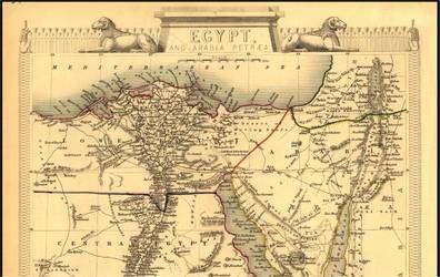L'Egypte et l'Arabie Pétrée, cartographiée par l'entreprise britannique John Tallis et Cie en 1851. (Cliquer sur l'image pour l'agrandir.) © BNM