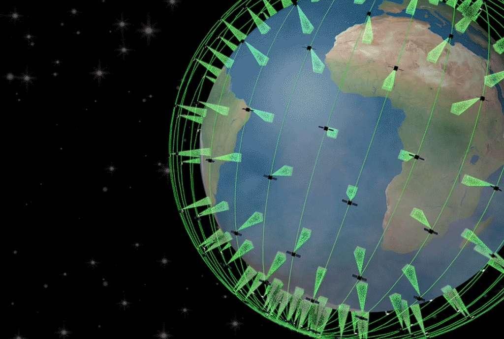 Profiter d'un réseau de satellites en orbite basse pour déployer des capteurs thermiques qui surveilleront la planète afin de détecter les départs d'incendies : le concept peut faire l'unanimité sur le papier mais le financement n'en reste pas moins incertain. © Nasa JPL, Quadra Pi R2E