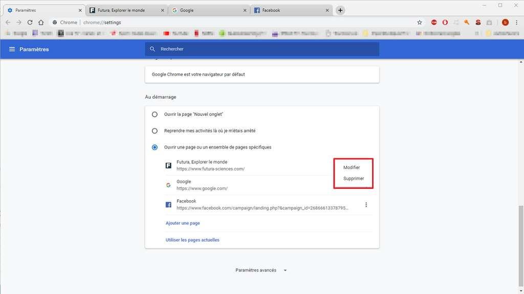 Vous pouvez gérer la liste des pages en les modifiant ou les supprimant. © Google