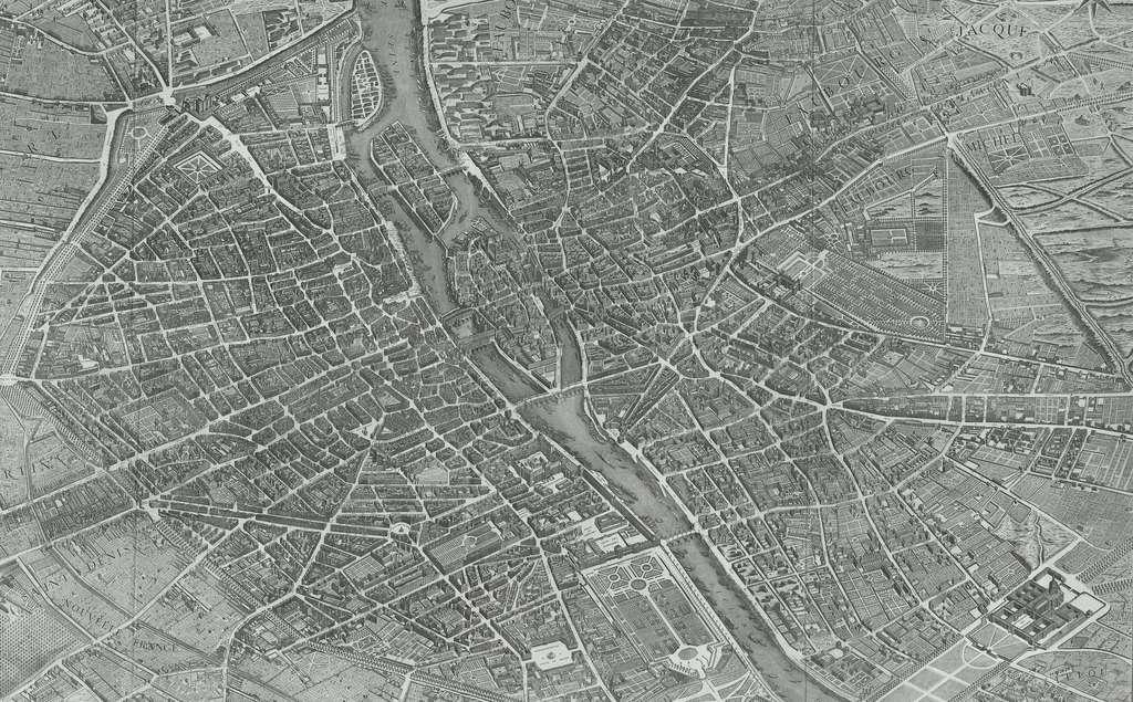 Plan de Paris de 1739 dit plan Turgot (axe est-ouest et perspective). Plans anciens de Paris. © Wikimedia Commons, domaine public