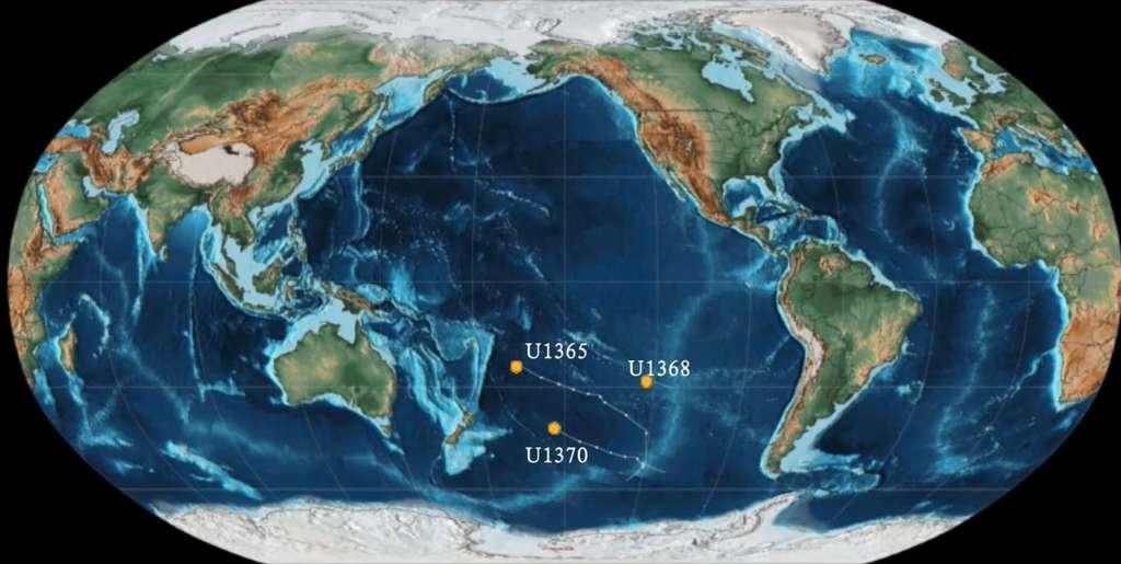 Les échantillons ont été récoltés dans le gyre tropical du Pacifique Sud, sous une couche de 75 mètres de sédiments à 6.000 mètres de profondeur. © Yuki Morono et al, Nature Communications, 2020