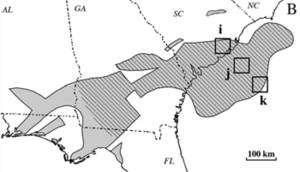 La formation basaltique la plus importante connue sur la côte Est des Etats-Unis s'étend depuis le large de la Caroline du Sud (SC) jusqu'à l'Alabama (AL) et la Floride (FL). © David Goldberg / Lamont-Doherty Earth Observatory