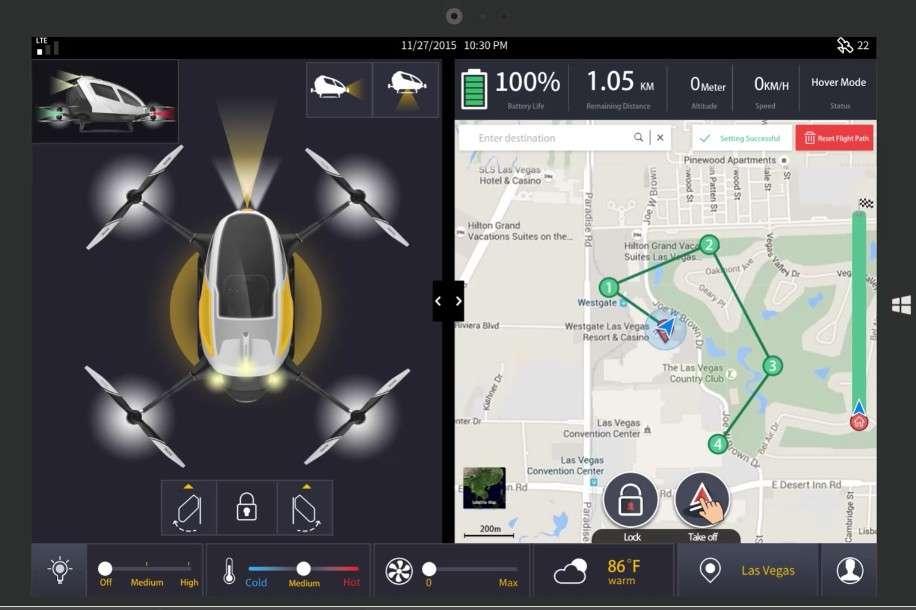 Voici l'application sur laquelle les futurs passagers du drone taxi Ehang 184 pourront programmer leur itinéraire. Il n'existe pas de commandes manuelles pour intervenir. En cas de défaillance, l'appareil est censé se poser rapidement dans la zone praticable la plus proche. © EHang