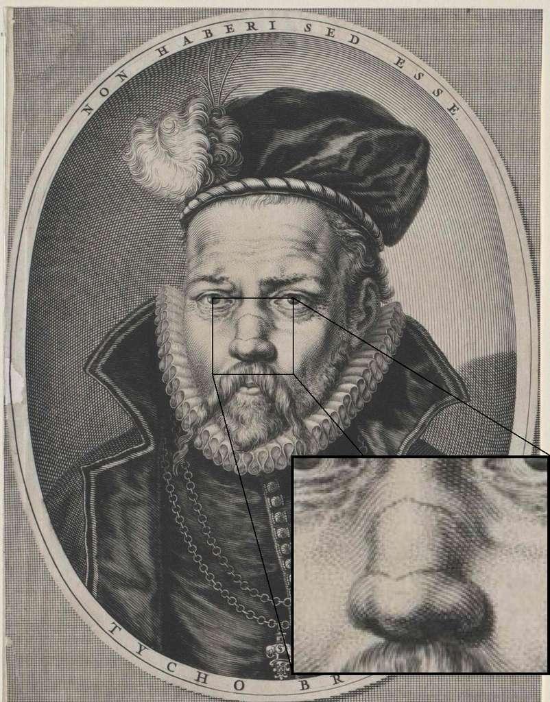 Sur le portrait de Tycho Brahe, on constate clairement que seule l'arête du nez est entamée. © Joseph Louis François Bertrand, Domaine public, Wikimedia Commons