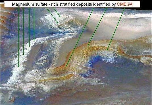 OMEGA a detecté dans la vallée Marineris de nombreux dépôts de sulfates (Crédits : HRSC & OMEGA)
