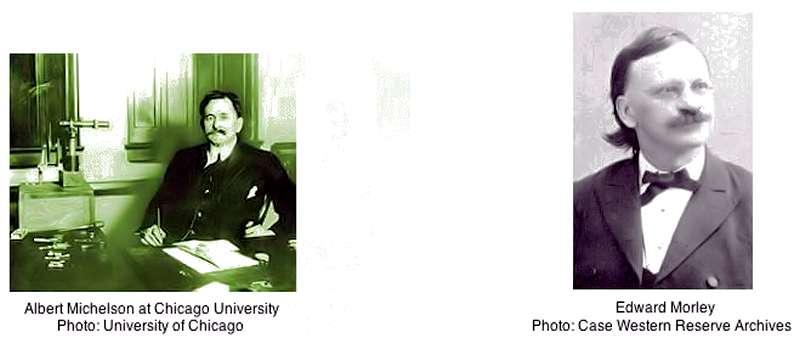 Albert Abraham Michelson (à gauche) et Edward Morley. © www.relativitycalculator.com
