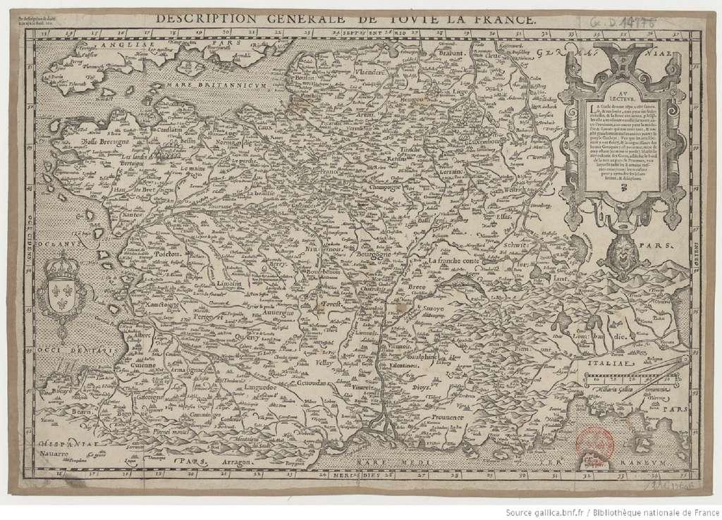« Description générale de toute la France » par François de Belleforest, en 1575. Bibliothèque nationale de France, département cartes et plans. © gallica.bnf.fr/BnF, domaine public