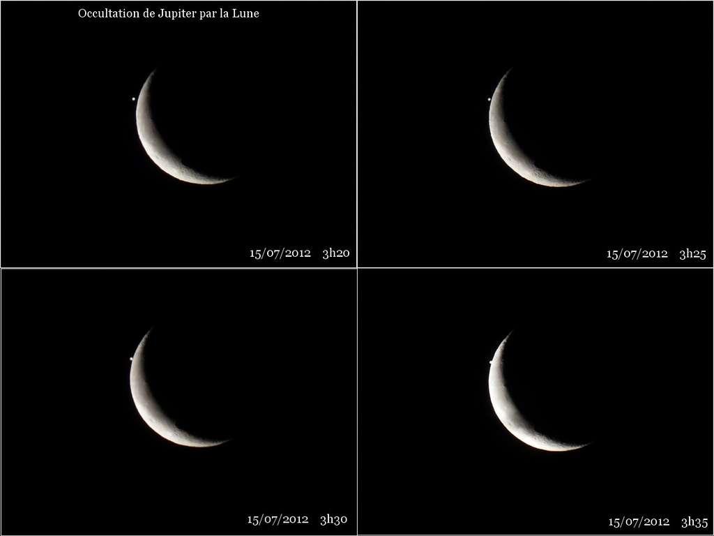 Le 15 juillet vers 3 h 30, Jupiter disparaît lentement derrière la Lune. © Jean-Baptiste Feldmann