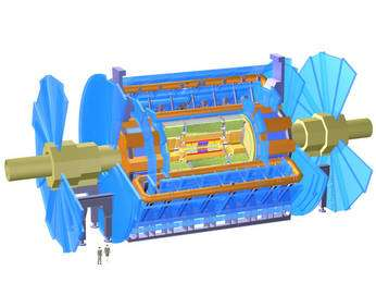 Figure 1. Le détecteur Atlas. Notez la taille des personnages en bas à gauche. Cliquez pour agrandir. Crédit : Scottish Universities Physics Alliance