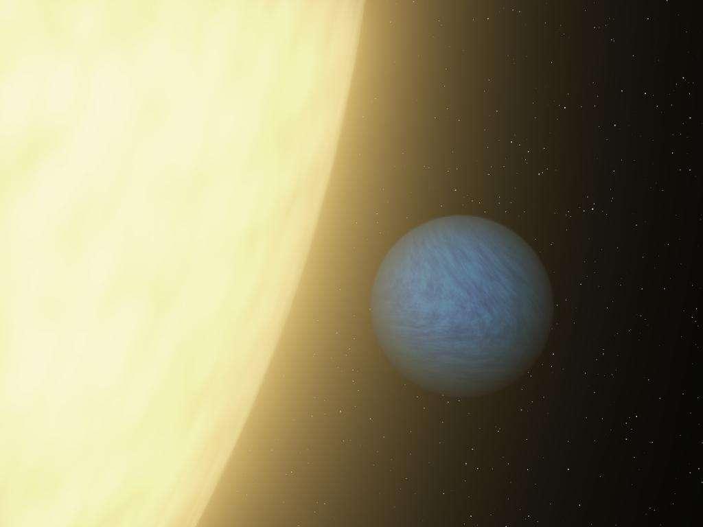 Une vue d'artiste de l'étrange planète 55 Cancri e, deux fois plus grande que la Terre et peut-être recouverte par une sorte d'océan d'eau à l'état supercritique. L'une de ses faces est perpétuellement tournée vers l'étoile, une naine jaune. Cette représentation est hautement hypothétique, l'image au bas de l'article montre ce que les astronomes ont observé grâce au télescope spatial Spitzer. © Nasa/JPL-Caltech