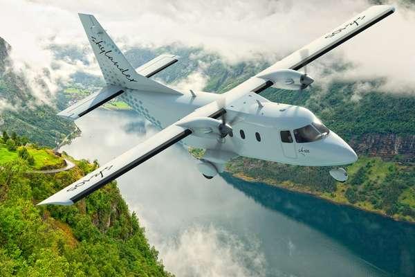 Le Skylander SK-105, développé par Sky Aircraft, est un biturbopropulseur polyvalent, destiné au transport de passagers ou de fret et d'autres missions, comme la surveillance. Il mesure près de 17 mètres de longueur pour 23 mètres d'envergure et peut utiliser des pistes courtes. Il sera produit en Lorraine, à Chambley-Bussières. © Geci International