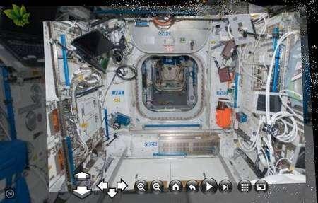 L'intérieur de l'ISS (ici le module Columbus) exploré par Photosynth, grâce à des photographies réalisées par les astronautes. © Nasa