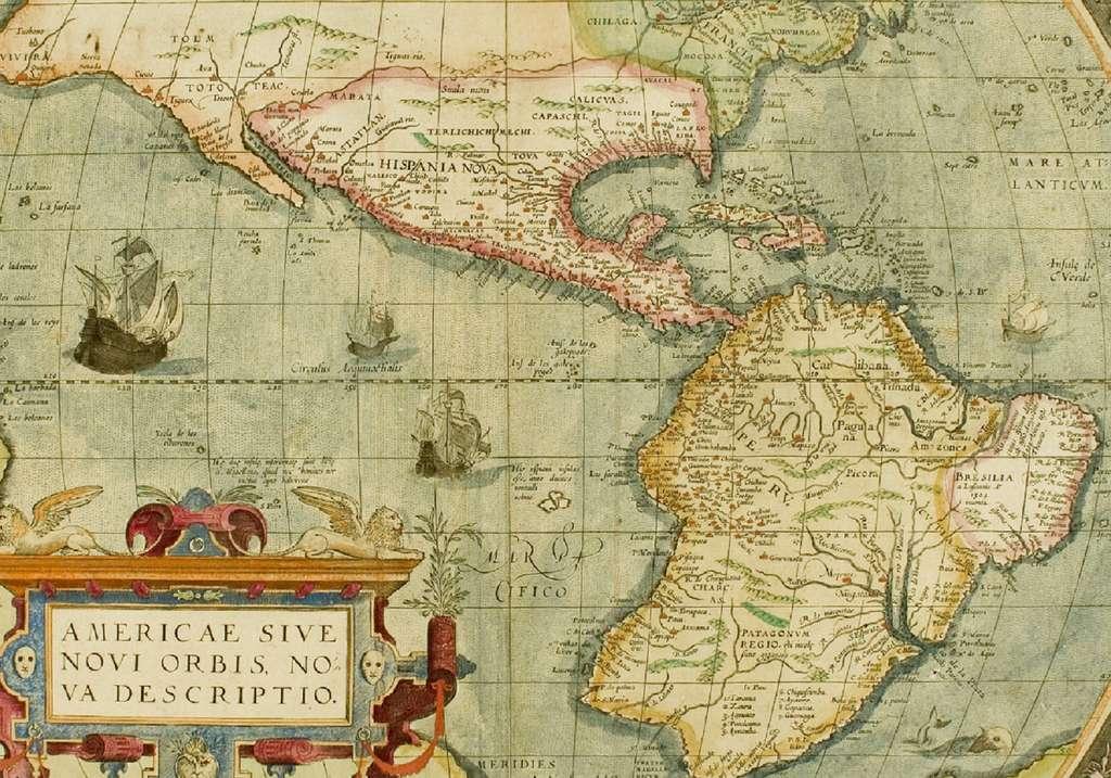 Carte « Nouvelle description de l'Amérique ou Nouveau Monde » d'après Ortélius, vers 1579. Neatline Antique Maps. © 2018 Neatline LLC.