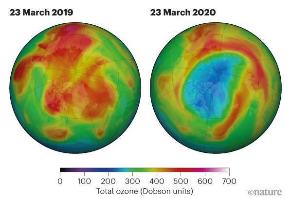 Ses images montrent le trou qui s'est ouvert en ce mois de mars dans la couche d'ozone au-dessus du pôle nord. © Nasa Ozone Watch, Nature