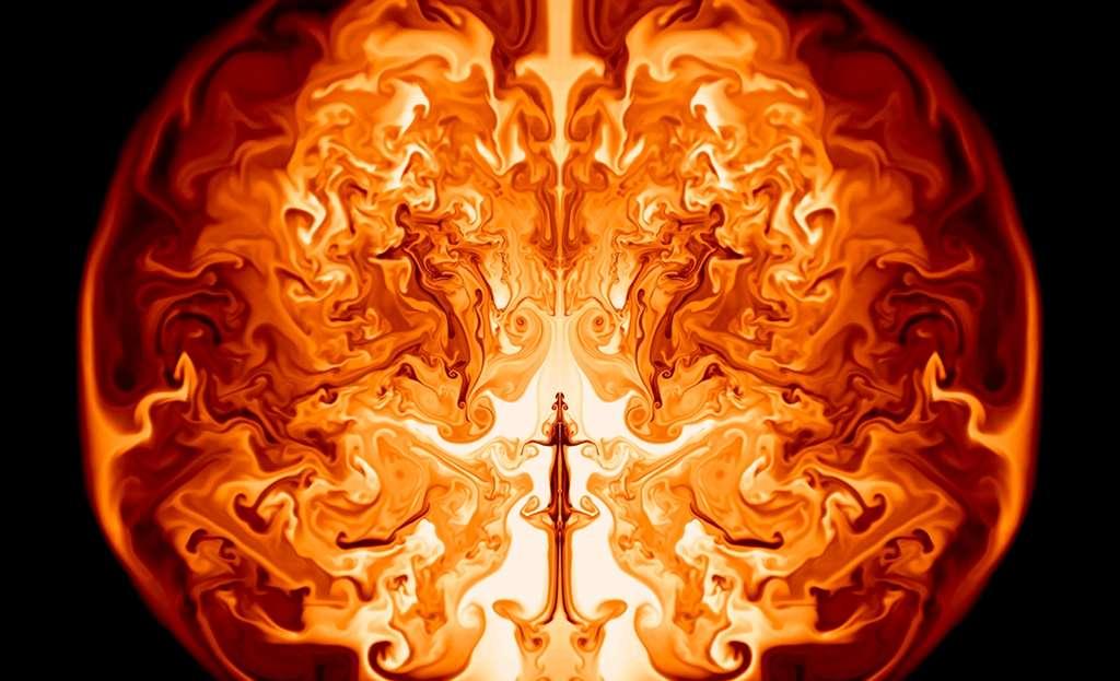 Une coupe de l'intérieur d'une étoile supermassive d'environ 55.000 masses solaires débutant son explosion. Il s'agit d'une simulation montrant les courants de matière qui s'élèvent tels des panaches dans un volume dont le rayon est celui de l'orbite de la Terre. © Ken Chen, UCSC