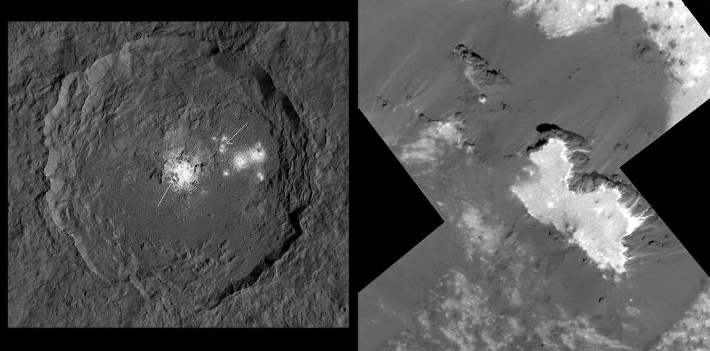 À gauche : cratère Occator. La fiche gauche indique la position de Cerealia Facula. À droite : gros plan sur la partie ouest de Cerealia Facula imagé par Dawn le 22 juin. La sonde était à 34 kilomètres au-dessus de la surface. Ces images vont aider à élucider le mystère de l'origine de ces taches blanches dans le cratère Occator (et ailleurs sur Cérès). Ces dépôts de carbonate de sodium proviennent-ils de réservoirs d'eau riche en minéraux situés juste sous la surface? Ou encore, de réservoirs de saumure plus profonds? L'étude de ces détails et des bordures des dépôts devrait aider les chercheurs à répondre à ces questions. © Nasa, JPL-Caltech, UCLA, MPS, DLR, IDA