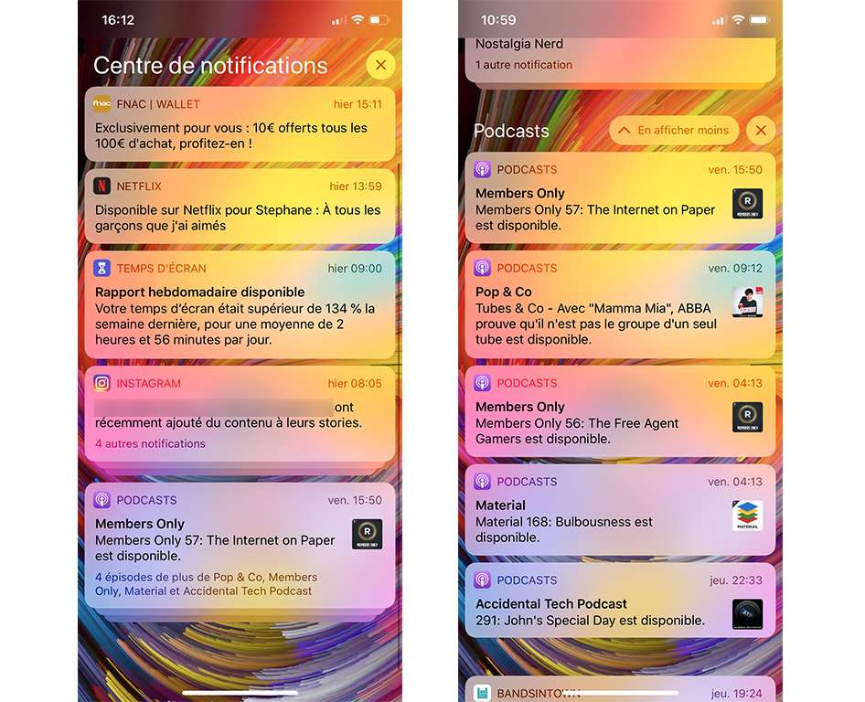 Les notifications sont regroupées par application. © SR, Futura