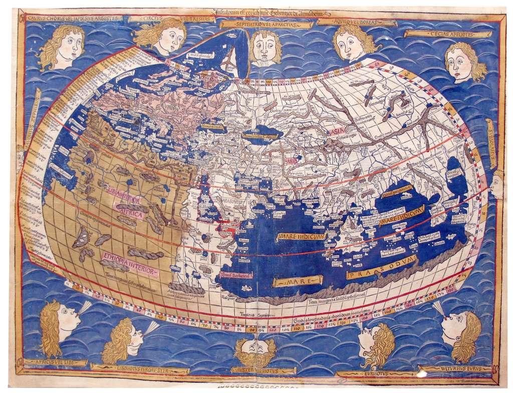 Représentation du monde, carte datée de 1482, d'après le traité « Geographia » ou « Cosmographia » de Ptolémée rédigé vers 150. On aperçoit le continent africain à gauche du planisphère en brun clair. © Wikimedia Commons, domaine public