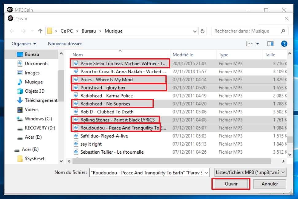 Faites une sélection individuelle des fichiers mp3. © MP3Gain