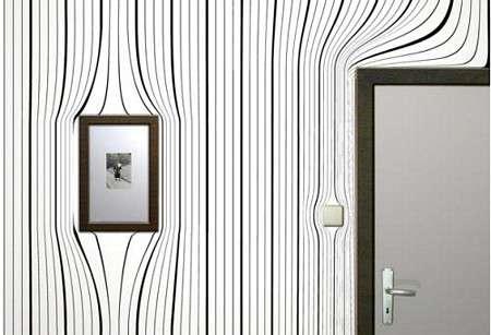 Le papier peint s'est modernisé et revient en force dans nos maisons. Ici, un papier peint design avec effet d'optique ! © DR