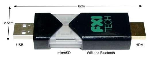 FXI est parvenue à intégrer l'équipement d'un PC dans une clé USB de 8,5 cm sur 2,5 cm. © FXI