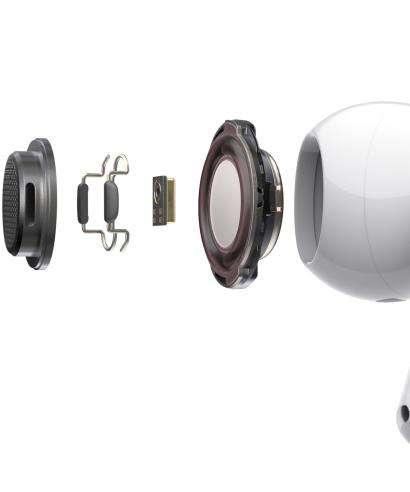 À l'intérieur de l'oreillette, deux micros, deux capteurs optiques, un accéléromètre détecteur de mouvements et un autre détecteur de voix. © Apple