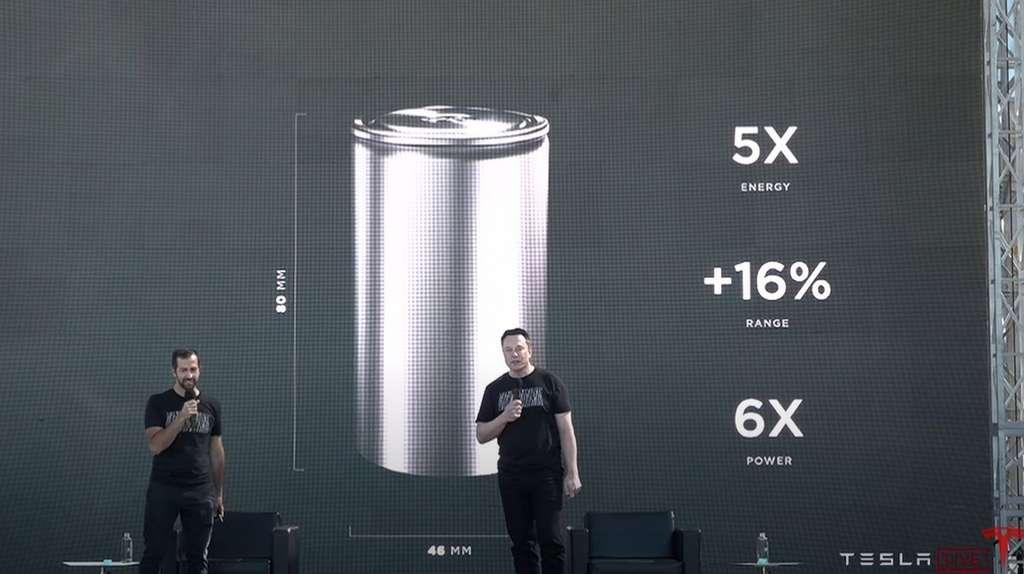 Elon Musk était sur scène pour détailler les innovations qui ont conduit à l'élaboration de la nouvelle cellule 4680. © Tesla
