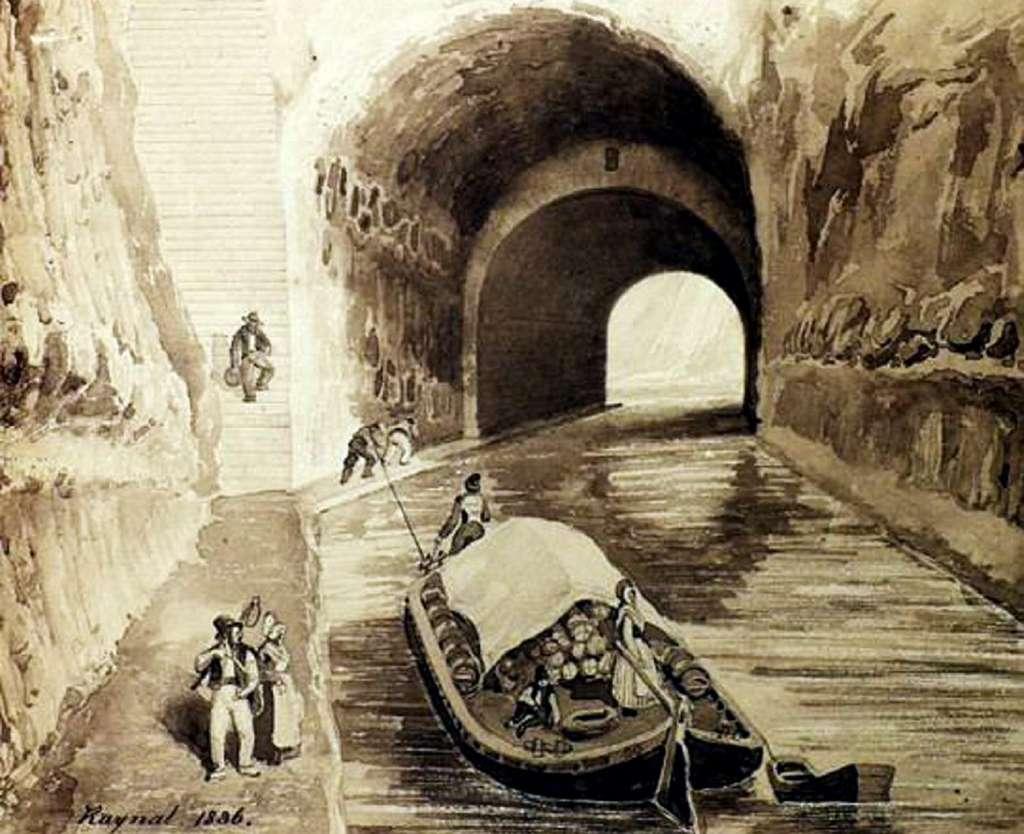 Canal du Midi, tunnel du Malpas, par Raynal en 1836. © Photo repro DDM.
