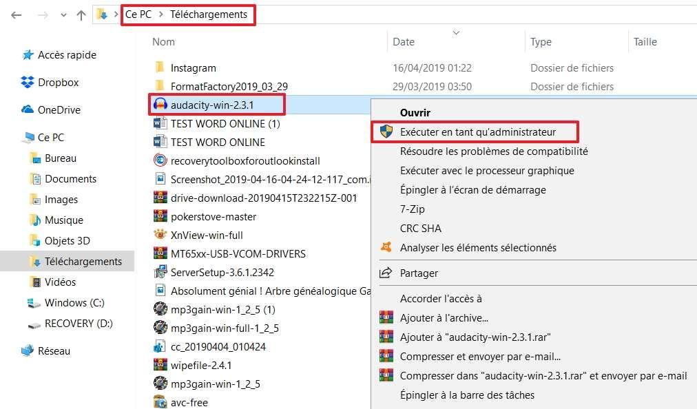 Exécutez le fichier en tant qu'administrateur. © Microsoft