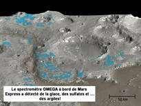 Glace d'eau et écoulements d'eau liquide sur Mars. © DR
