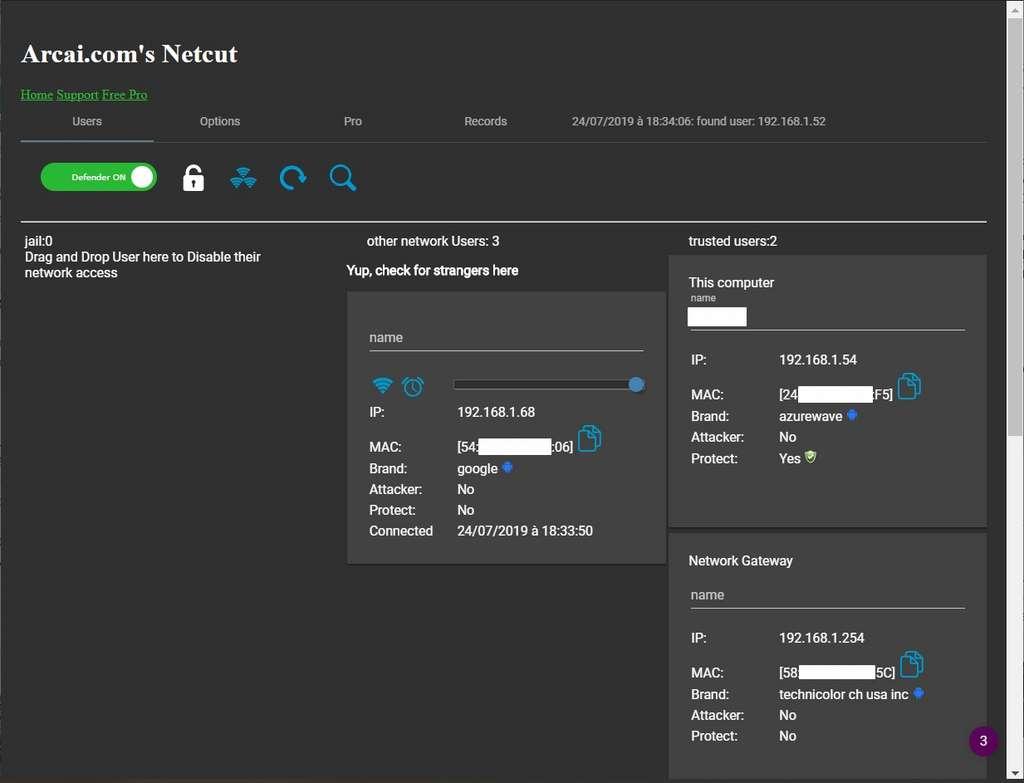 Fenêtre d'accueil de Netcut dans un onglet du navigateur. © Arcai.com